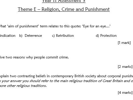 RE GCSE AQA Theme E Religion, Crime and Punishment - Assessment