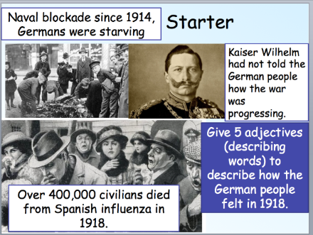 The end of WW1 in Germany