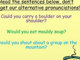 Phonics alternative pronunciations: a, y, ch, ou and tricky words many, laughed, because.
