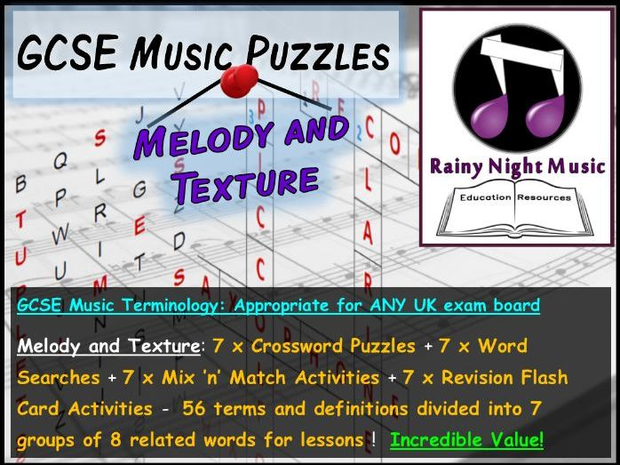 GCSE MUSIC TERMINOLOGY PUZZLES – MELODY AND TEXTURE – SUITED TO ALL UK GCSE MUSIC SPECS