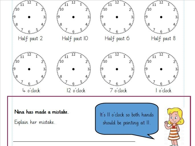 O'Clock and Half Past times. Differentiated Worksheets Year 1 (white rose)