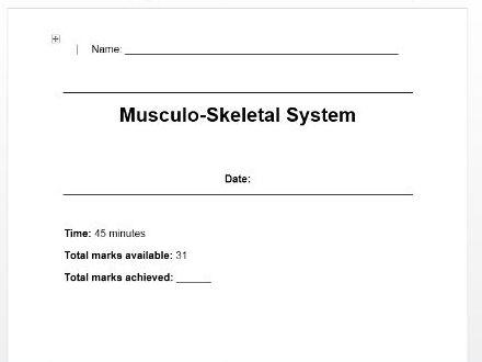Edexcel New GCSE PE 9-1. Musculo-Skeletal system exam questions/test