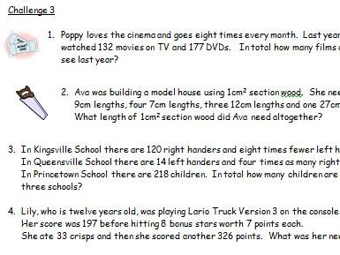 Y3 Y4 Over 100 Differentiated Word Problems Mixed Operations.  Plus Missing Number Problems.