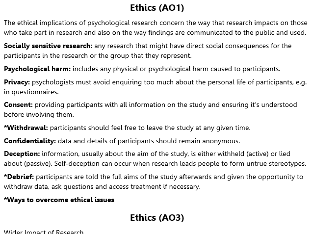 Ethics Revision (A2 Psychology)