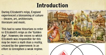 AQA GCSE Elizabethan England Topic 2 'Life in Elizabethan Times'