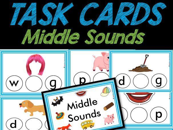 Middle Sounds TASK CARDS | Phonics | Easy PREP | Pre-k & Kindergarten