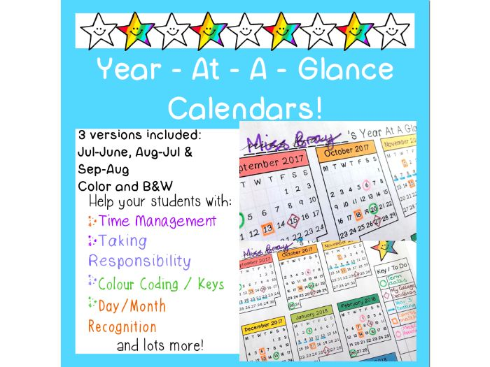 Year at a Glance Calendars for Teachers and students!