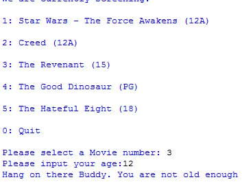 """GCSE Python Project """" Movie Booking System"""""""