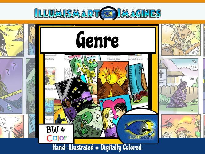 Genre Clip-Art: 38 pc. ClipArt Set! BW & Colo