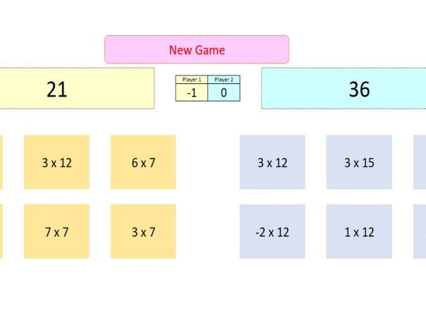 Interactive Multiplication Game for Whiteboard Use