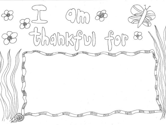 Things I Am Thankful For: Thanksgiving Colouring Page By