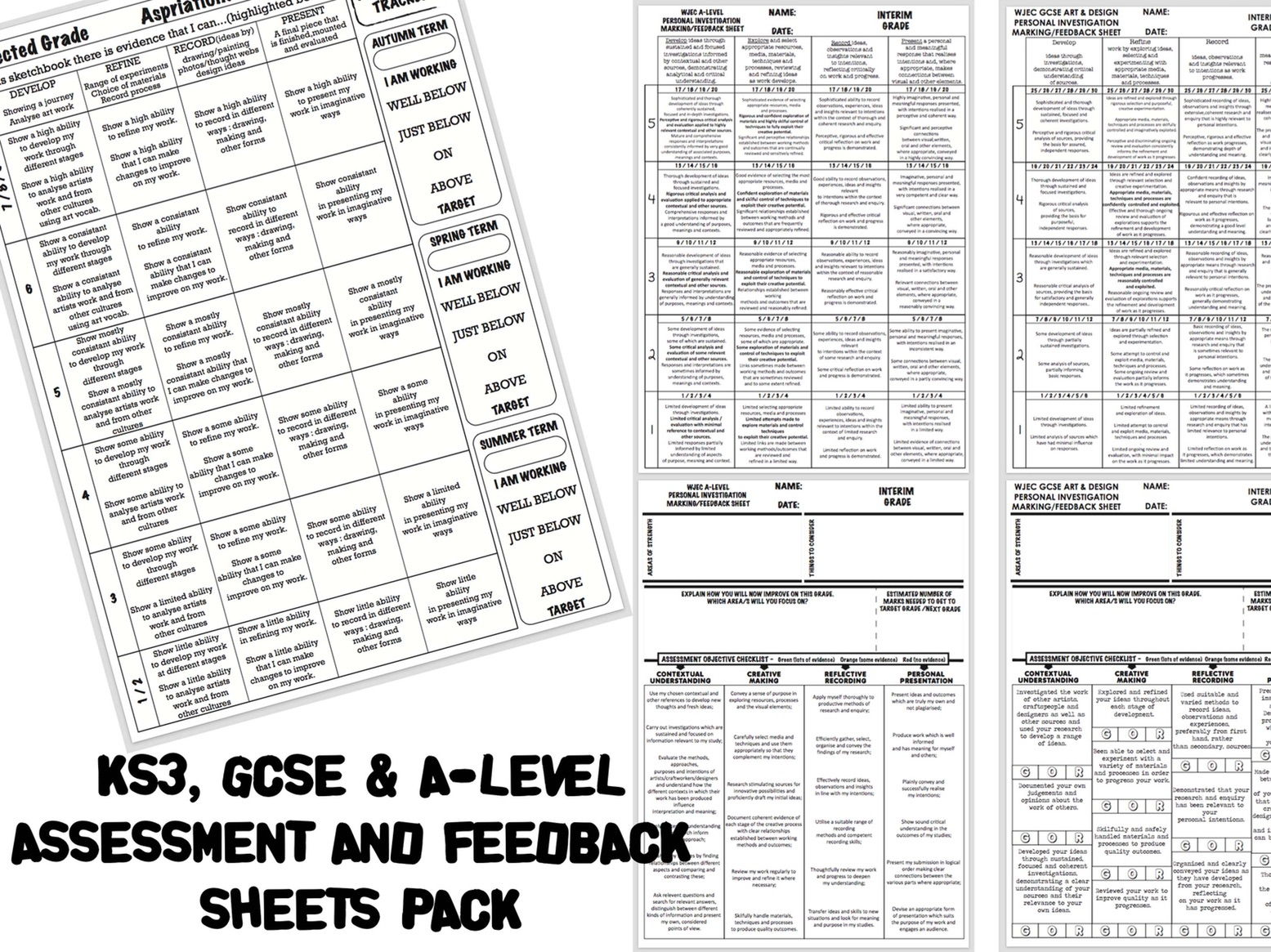 Complete KS3, GCSE & A-LEVEL ART ASSESSMENT/MARKING/FEEDBACK Pack