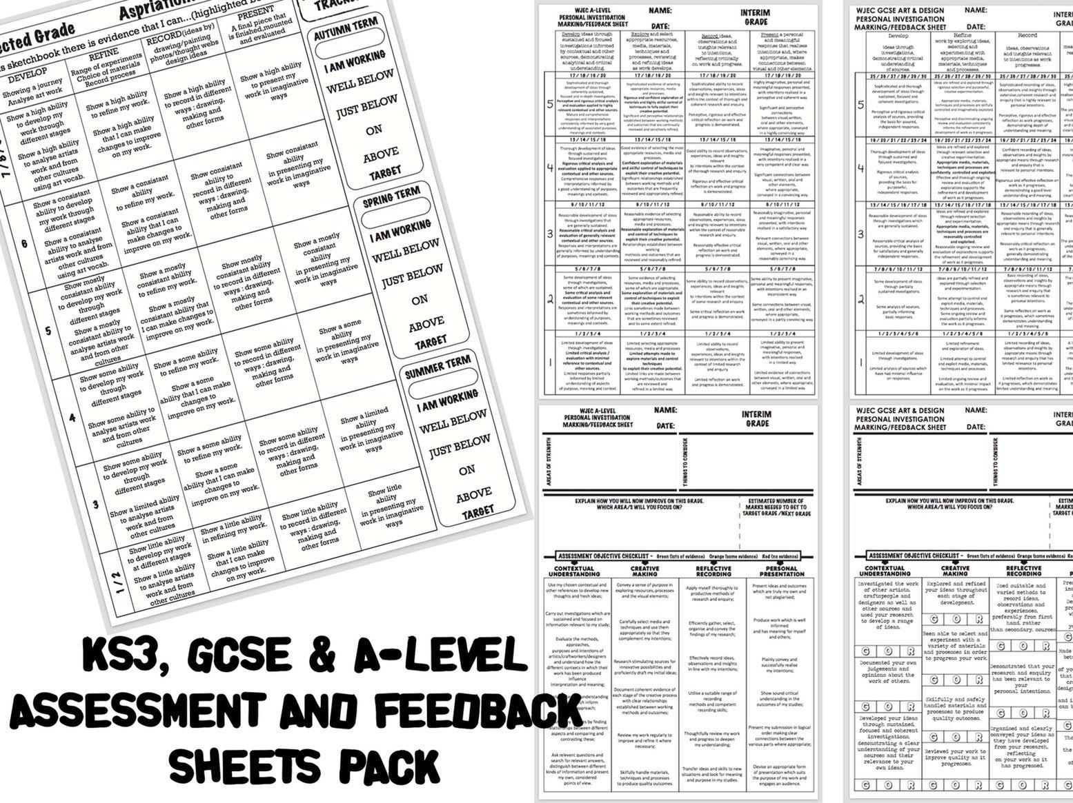 Complete KS3, GCSE & A-LEVEL ART ASSESSMENT/MARKING/FEEDBACK Pack