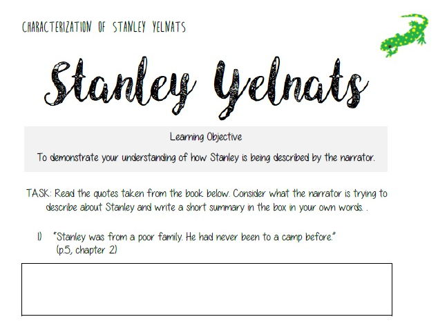 Holes - Characterization of Stanley Yelnats Direct Quote Reference