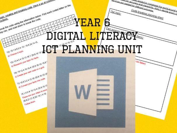 Year 6 Digital Literacy ICT planning