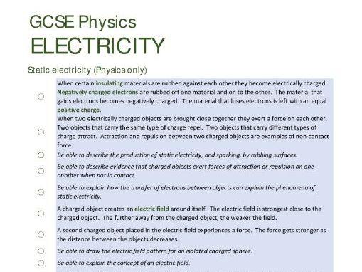 ELECTRICITY unit summary/checklist for AQA GCSE Physics