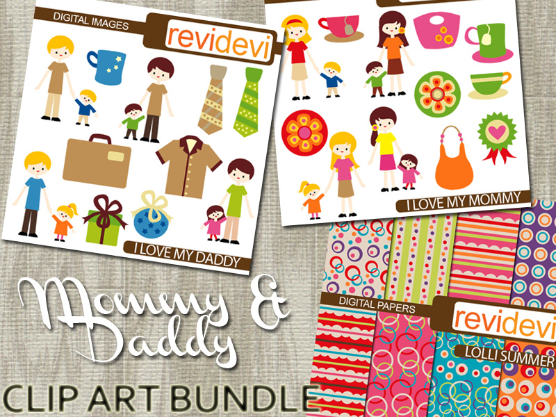 Clip Art Bundle Mommy and Daddy: Mother's day and Fathers day