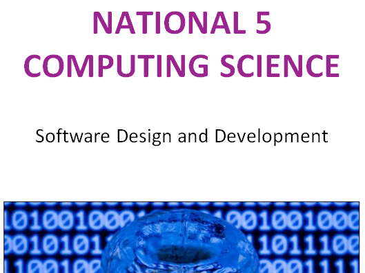National 5 Computing Science SDD Complete Unit Summary Notes