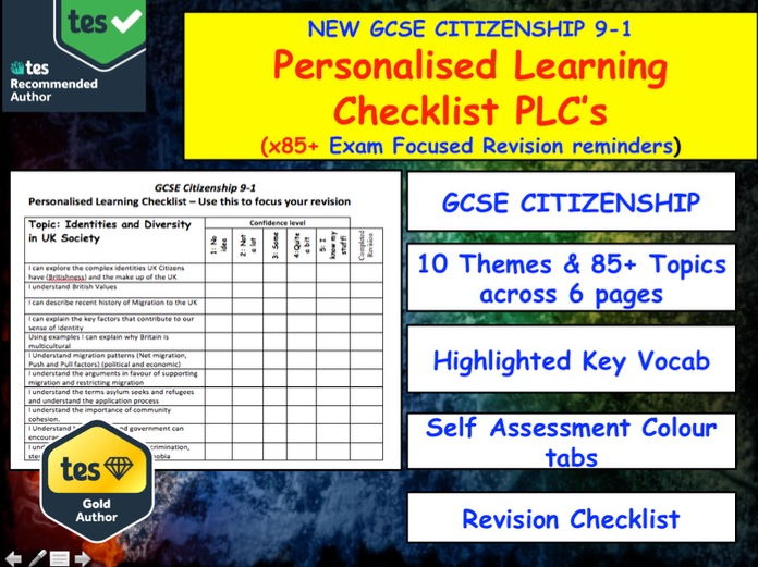 PLC's GCSE CITIZENSHIP Personalised Learning Checklists Revision
