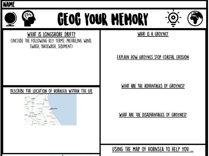 Coasts/fieldwork geog your memory sheet