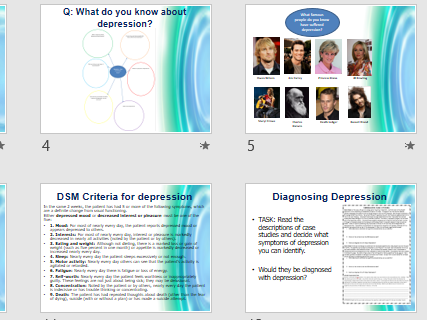 DEPRESSION CHARACTERISTICS - Full lesson for AQA Psychology (powerpoint and activities)