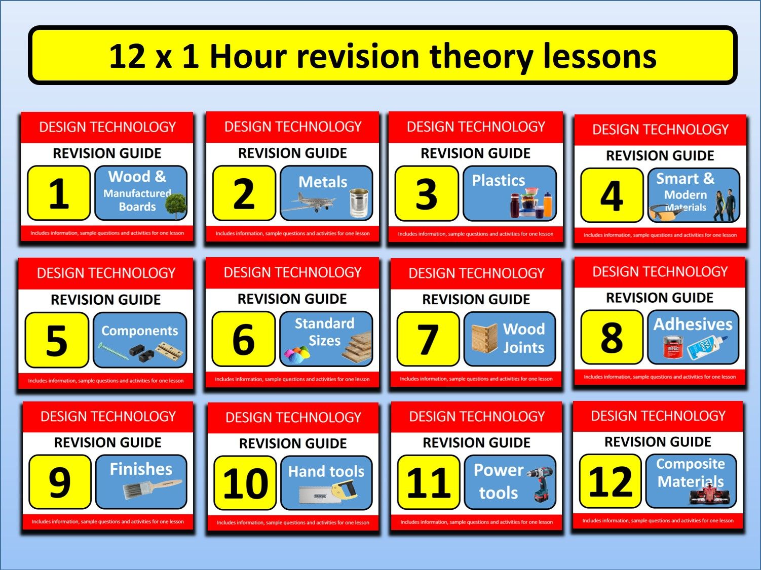 12 x 1 hour GCSE Design Resistant Materials Revision Lessons Exam Questions Tools etc