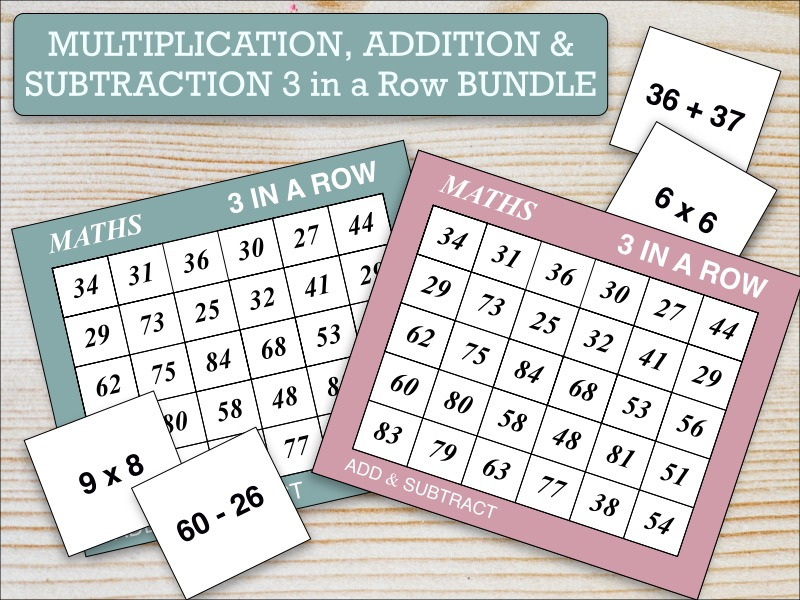 Three in a Row Maths Games Bundle: Addition, Subtraction & Multiplication