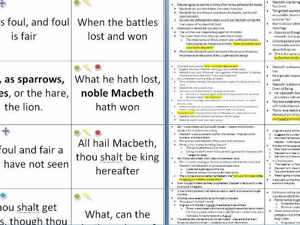 FREE SAMPLE - Macbeth Quote Card Analysis