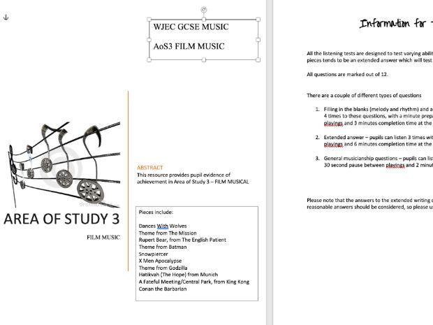WJEC GCSE MUSIC SAMS - AREA OF STUDY 3 FILM MUSIC