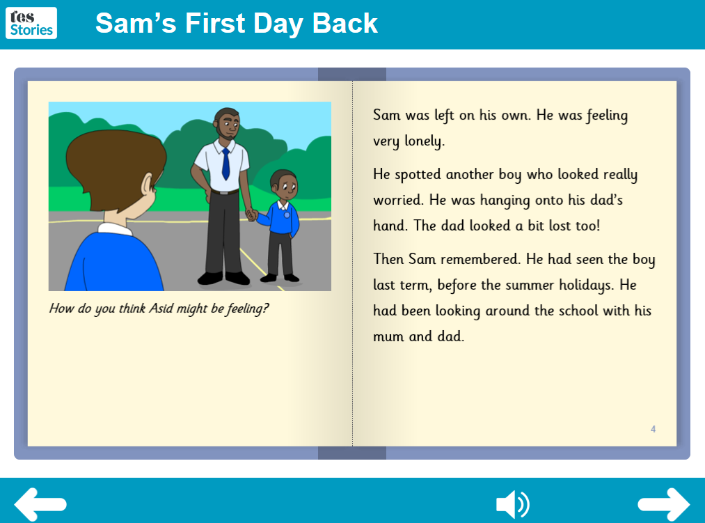Sam's First Day Back Interactive Storybook - Independent Reader Level - PSHE KS1