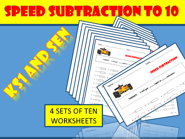 KS1 / SEN Maths.  Number Bonds to 10: Subtraction Worksheets