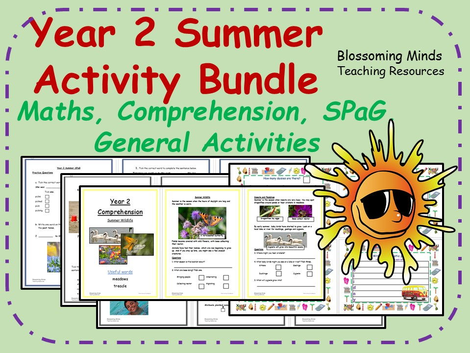 Year 2 end of term summer bundle - maths, comprehension, SPaG, general activities