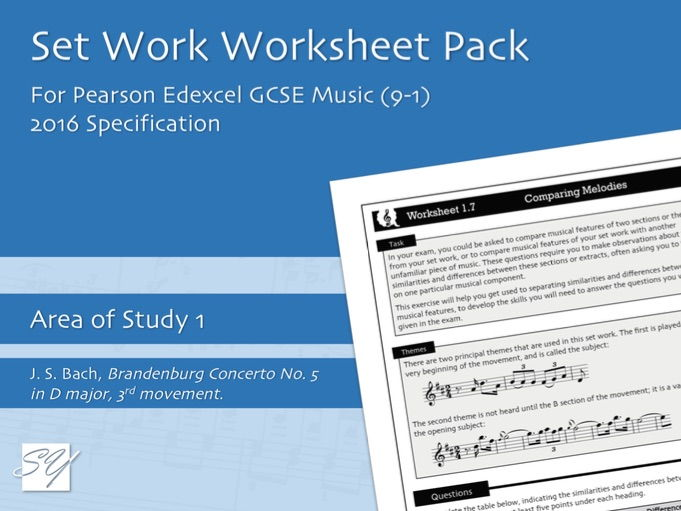Worksheet Pack for Pearson Edexcel GCSE Music (2016 Specification) - Area of Study 1, Set Work 1