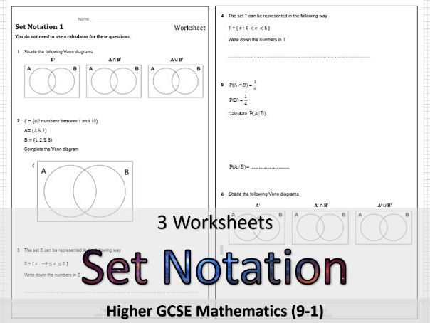 Set Notation GCSE maths: Worksheets and solutions