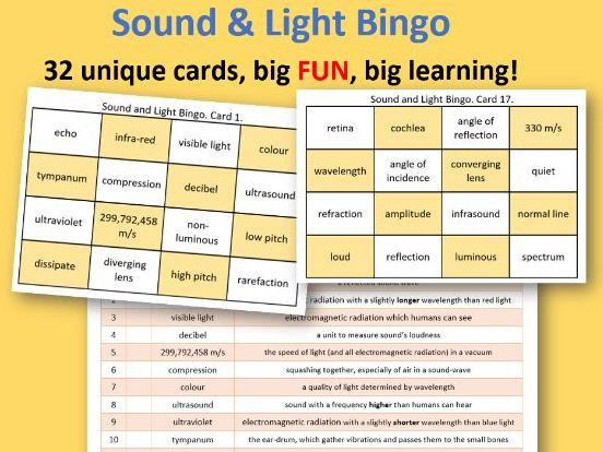 KS3 Sound & Light Bingo - FUN! FUN!