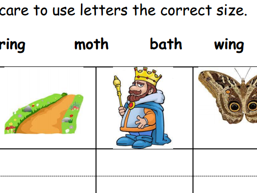 "Phonics Phase 3 ""ng"" and ""th"" Spelling Homework"