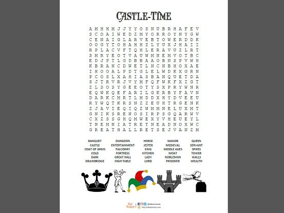 Wordsearch puzzles - London, Castles, Knights, Vikings, Da Vinci