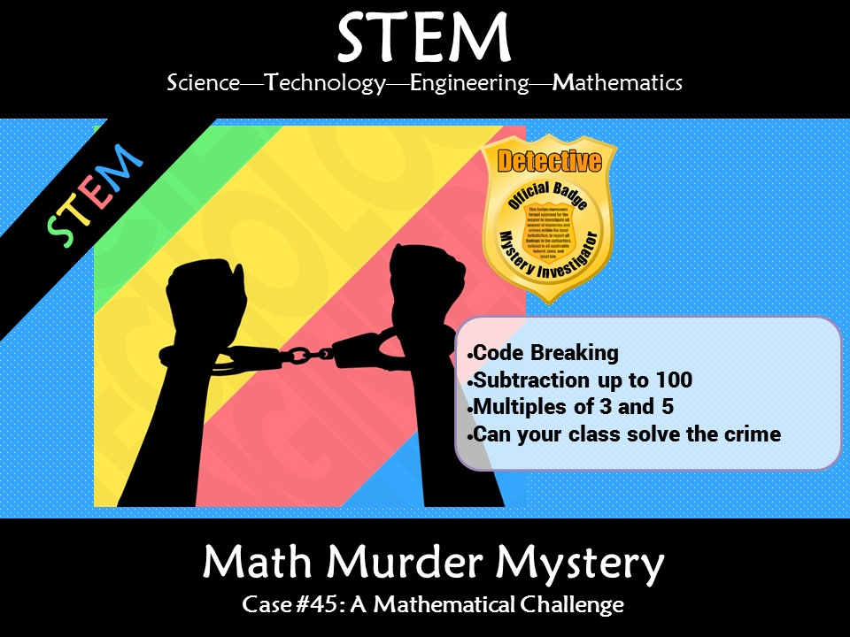STEM Math Murder Mystery Subtraction #45 A Math Challenge