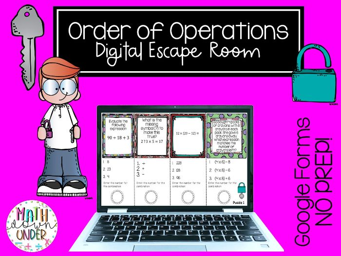 Order of Operations Escape Room using Google Forms - PDF & Distance Learning