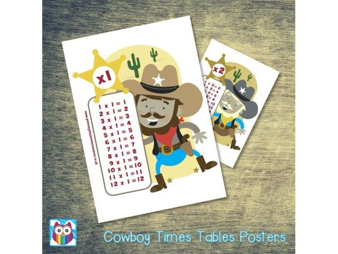 Cowboy Times Tables Posters