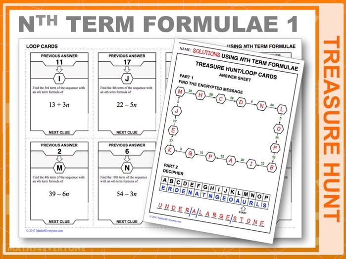 Using nth Term Formulae (Treasure Hunt)