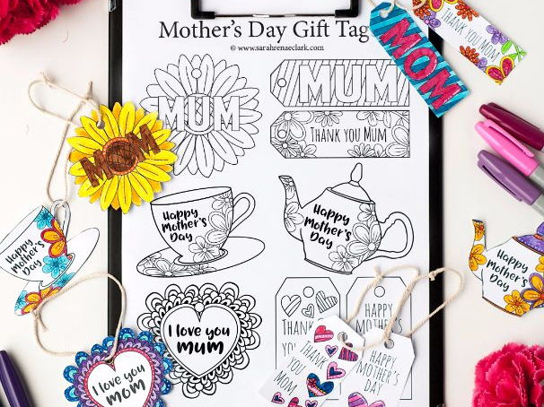 Mother's Day Gift Tags – 12 DIY printable gift tags to color and make for Mom / Mum | Printable PDF