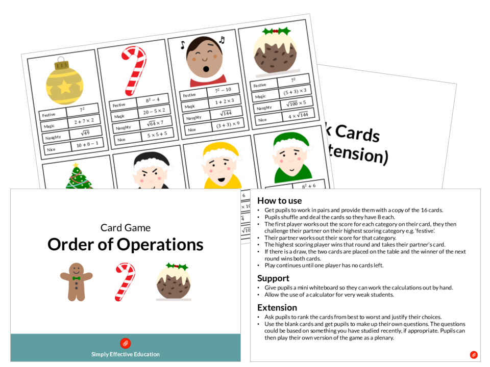 Christmas Card Game (Order of Operations)