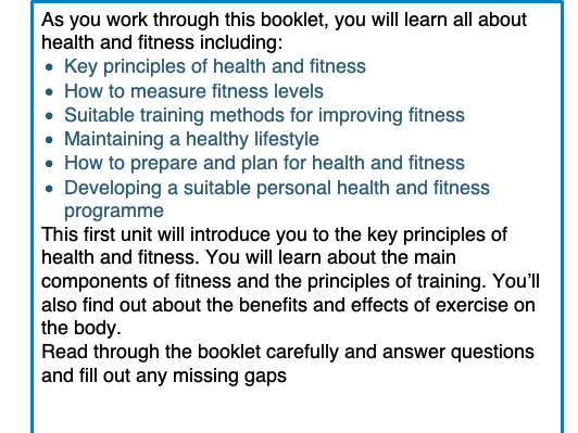 Health and Fitness Booklet (23 pages)
