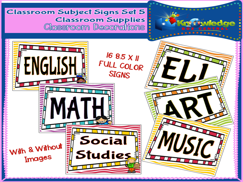 Classroom Subject Signs Set 5