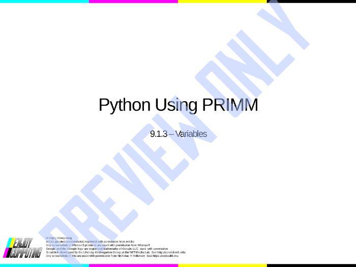 Python Using PRIMM - Lesson 3 - Variables