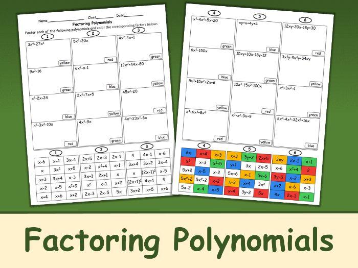 Factoring Polynomials Color Mosaic