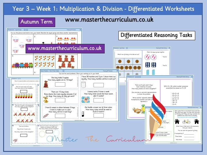 Year 3- Multiplication and Division Differentiated Worksheets - White Rose Style