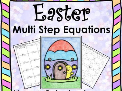 Solving Equations Spring Easter Math Multi Step Equations Maze & Color by Number Bundle
