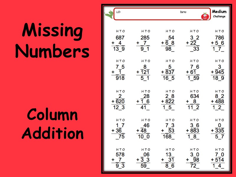 Addition worksheet missing numbers with answers - 3 levels of differentiation KS2 Year 3 4 5 6